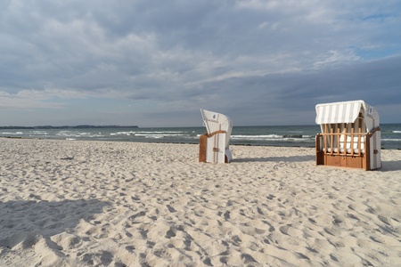 Beach chairs on a beach at the German Baltic Sea