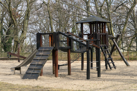 Playground for children with slide and climbing frame Standard-Bild - 100717074