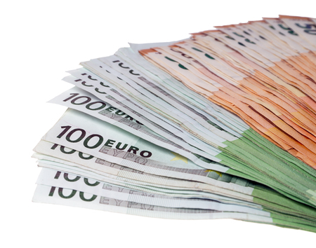 Fifty and One Hundred Euro Bills on a Light Background Standard-Bild - 101064160