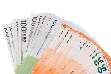 Fifty and One Hundred Euro Bills on a Light Background Standard-Bild - 101071159