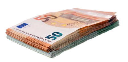 Fifty and One Hundred Euro Bills on a Light Background Standard-Bild - 101071160