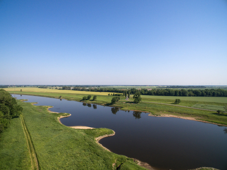 Aerial view of a landscape with the river Elbe Standard-Bild - 102936662