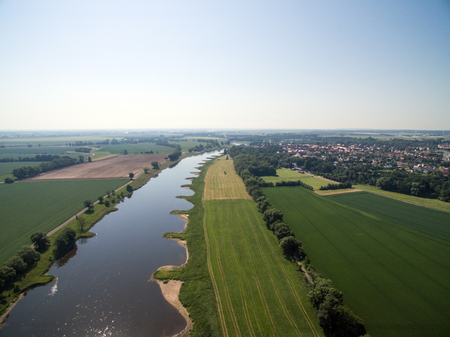 Aerial view of a landscape with the river Elbe Standard-Bild - 102930155