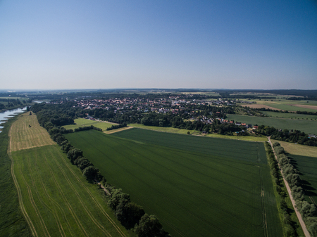 Aerial view of a landscape with the river Elbe Standard-Bild - 102936666