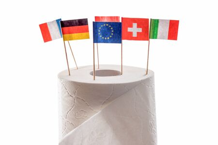 toilet paper with different European flags Standard-Bild