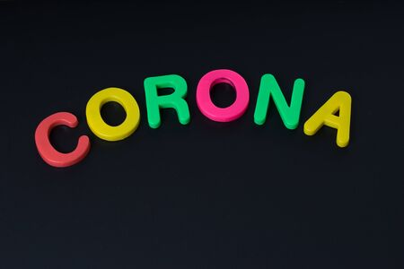 Blackboard with the word Corona