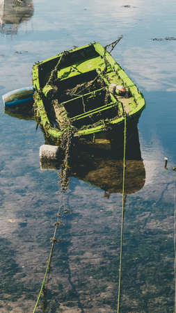 Small fishing boat covered with moss