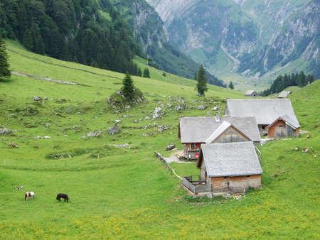 Alpine mountain village in the Appenzell region, Switzerland