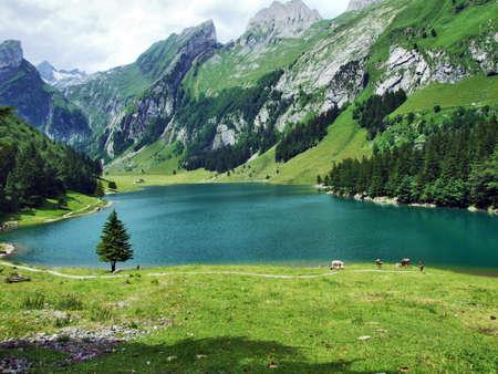Alpine lake Seealpsee in the Appenzell region, Switzerland