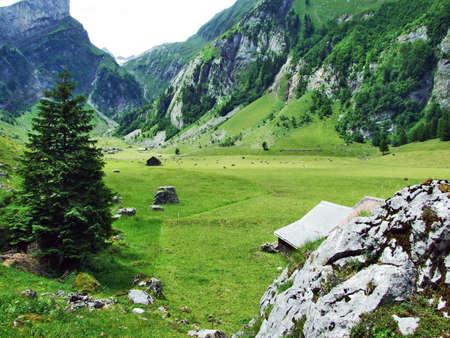A small picturesque Alpine village in Appenzell, Switzerland Stock Photo