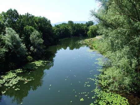 River Lika in its course through the town of Gospic, Croatia