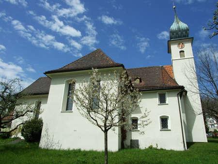 Old christian church in city of St. Gallen, Switzerland Archivio Fotografico