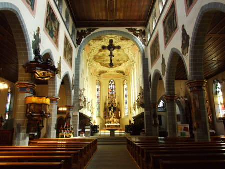 Sacral motifs and the interior of the church in the city of Constance, Germany