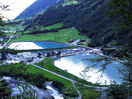 Lakes from Hydro Power Plant ARGE Kraftwerk Limmern - Canton of Glarus, Switzerland Banque d'images