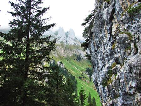 Stones and rocks of mountain masses Alpstein - Canton of Appenzell Innerrhoden, Switzerland
