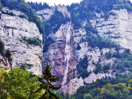 Waterfall Seerenbachfall above the Walensee lake - Canton of St. Gallen, Switzerland