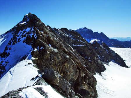Summit Clariden in the Glarus Alps mountain range, at the border between the Swiss cantons Glarus and Uri