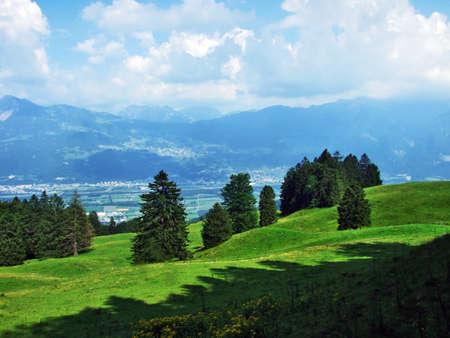 View of the river Rhine valley (Rheintal) from the Alvier mountain - Canton of St. Gallen, Switzerland