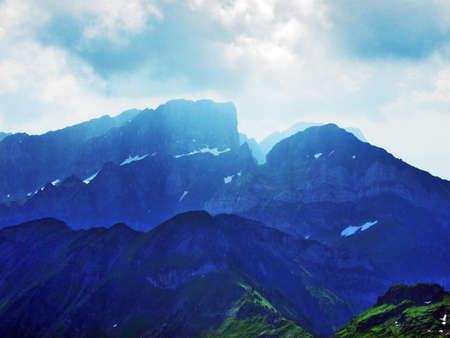 Appenzell Alps mountain range (Appenzeller Alpen) - Canton of St. Gallen, Switzerland Archivio Fotografico