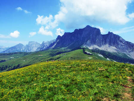 Girenspitz and Gauschla mountains in the Rätikon range of the Alps - Canton of St. Gallen, Switzerland