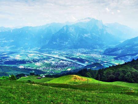 View of the river Rhine valley (Rheintal) from the Gonzen mountain - Canton of St. Gallen, Switzerland Stock Photo
