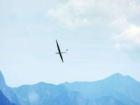 Glider above the Swiss Alps and the Rhine valley - Canton of St. Gallen, Switzerland