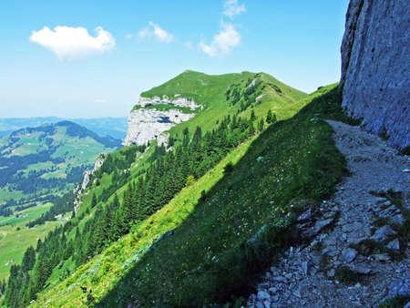 Alpine peak Kamor Trestenkopf in the Alpstein mountain range and in the Appenzellerland region - Canton of Appenzell Innerrhoden, Switzerland Stock Photo