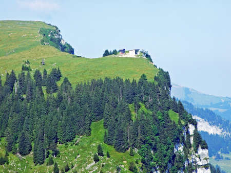 Peak and plateau Alp Sigel in mountain range Alpsten - Canton of Appenzell Innerrhoden, Switzerland