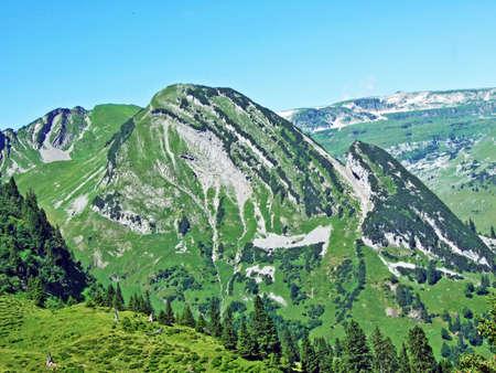 Alpine peak Förenchopf above the Voralpsee lake and the Alviergruppe mountain range - Canton of St. Gallen, Switzerland