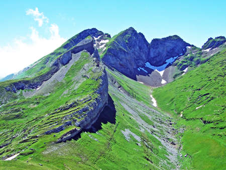 Alpine peak Glannachopf in the Alviergruppe mountain range - Canton of St. Gallen, Switzerland Stock Photo