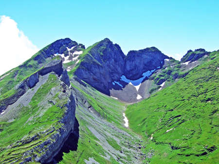 Alpine peak Glannachopf in the Alviergruppe mountain range - Canton of St. Gallen, Switzerland
