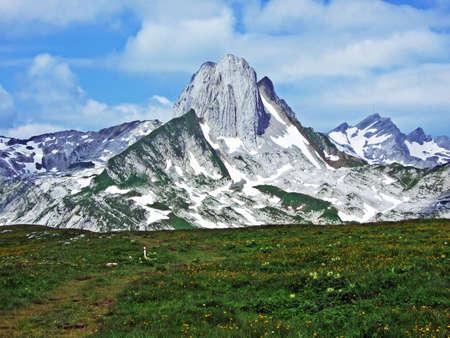 Alpine peak Altman in mountain range Alpstein - Cantons of St. Gallen and Appenzell Innerrhoden, Switzerland