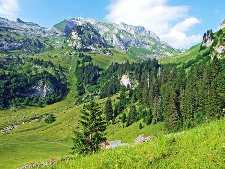 The beautiful Alpine peak of Säntis in Alpstein mountain range - Canton of Appenzell Innerrhoden, Switzerland Stock Photo