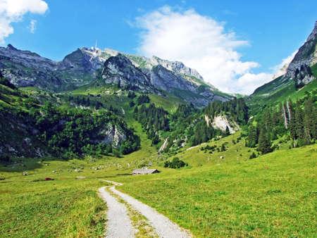 The beautiful Alpine peak of Säntis in Alpstein mountain range - Canton of Appenzell Innerrhoden, Switzerland