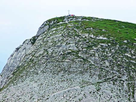 Grassy peak Mutschen in Alpstein mountain range - Canton of St. Gallen, Switzerland