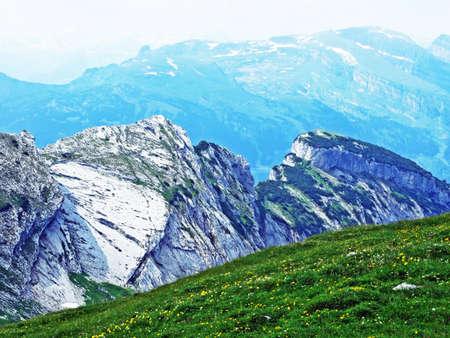 The spiky alpine peaks of Grätterinfirst at the Alpstein mountain range - Canton of St. Gallen, Switzerland