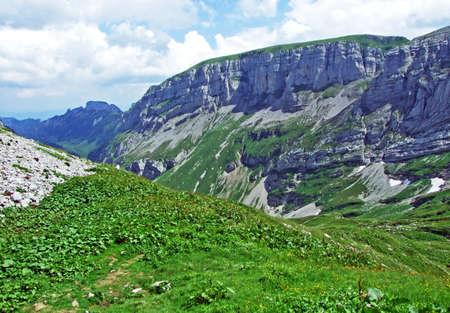 Rocky mountain ridge Roslenfirst and Saxer First in Alpstein mountain range - Canton of Appenzell Innerrhoden, Switzerland