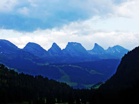 Mountain massive Churfirsten, between river valleys Thurtal and Seeztal - Canton of St. Gallen, Switzerland