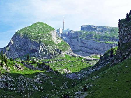 The beautiful and dominant alpine peak of Säntis in Alpstein mountain range - Canton of Appenzell Innerrhoden, Switzerland