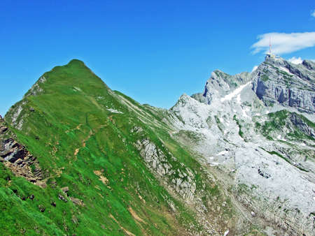 The beautiful and dominant alpine peak of Säntis in Alpstein mountain range - Canton of Appenzell Innerrhoden, Switzerland Stock Photo