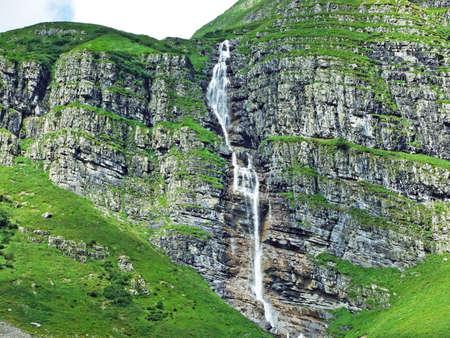 Mattbachfall waterfall in the Wichlen Alpine Valley - Canton of Glarus, Switzerland