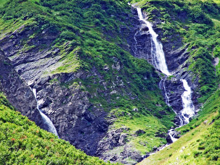 Waterfalls on the Mitteleggbach stream in the Wichlen Alpine Valley - Canton of Glarus, Switzerland