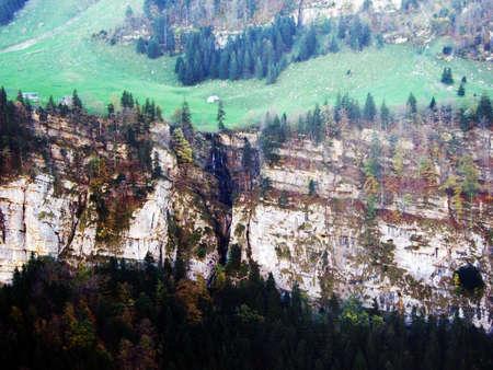 Seasonal waterfalls in the Alpstein mountain range and in the Appenzellerland region - Canton of Appenzell Innerrhoden (AI), Switzerland