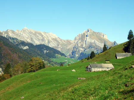 Traditional architecture and farmhouses on the Churfirsten mountain range and in the Toggenburg region, Starkenbach - Canton of St. Gallen, Switzerland