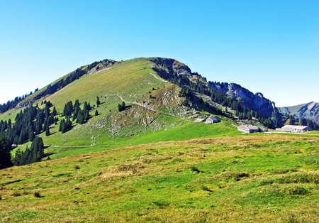Alpine mountain Gulme above the Wahlensee Lake and ski resort Amden - Canton of St. Gallen, Switzerland