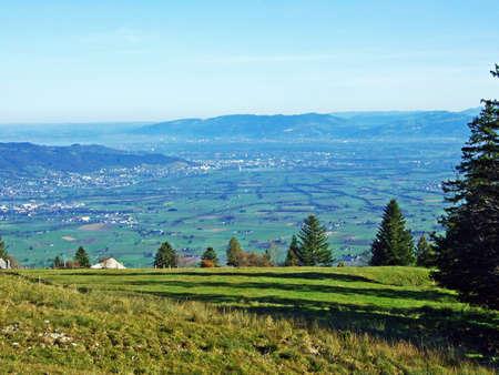 View on the river Rhine valley (Rheintal) from the Alpstein mountain range, Oberriet SG - Canton of St. Gallen, Switzerland