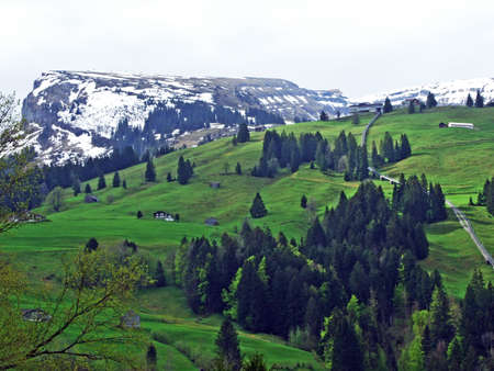 Alpine peak Gamserrugg in the Churfirsten mountain range; between the Toggenburg region and Lake Walensee, Unterwasser - Canton of St. Gallen, Switzerland Stock Photo