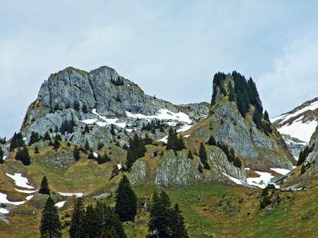 View of the Alpstein range from the Thur river valley in the Toggenburg region, Wildhaus - Canton of St. Gallen, Switzerland