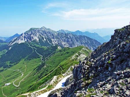 Alpine mountain peaks Spitz, Gamsgrat and Raucher Berg over the Malbuntal alpine valley and in the Liechtenstein Alps mountain range - Malbun, Liechtenstein