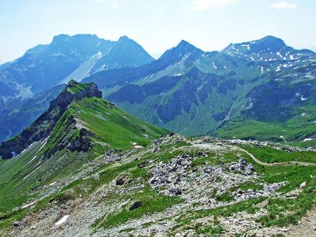 Alpine mountain peaks Gorfion and Augstenberg in the Liechtenstein Alps mountain range - Malbun, Liechtenstein